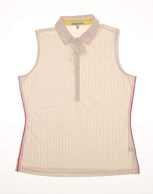 Brand New 10.0 Womens Fairway & Greene Sleeveless Polo Medium M Off-White F12220