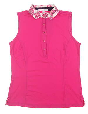 New Womens Fairway & Greene Sleeveless Golf Polo Medium M Pink H12220 MSRP $80