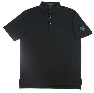 New W/ Logo Mens Peter Millar Golf Polo Large L Black MS18EK29S MSRP $85