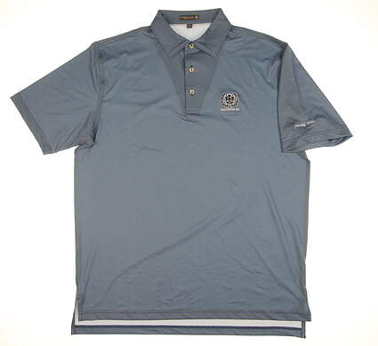 New W/ Logo Mens Peter Millar Polo Large L Sky Blue/Navy Blue MS17EK14S MSRP $89.99