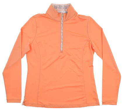 New Womens Fairway & Greene 1/4 Zip Pullover Medium M Orange E32226 MSRP $110