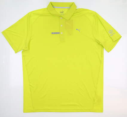 New W/ Logo Mens Golf Puma Polo Large L Neon Yellow 570462 MSRP $80