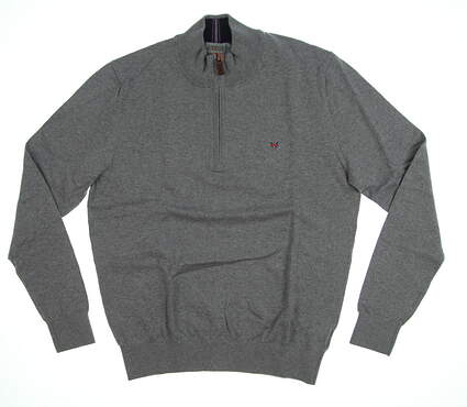 New Mens Fennec Solic Cotton Cashmere 1/4 Zip Sweater Medium M Light Charcoal MSRP $125 182F367