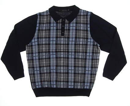 New Mens Bobby Jones 1930 Merino Wool Golf Sweater Large L Navy Blue MSRP $245