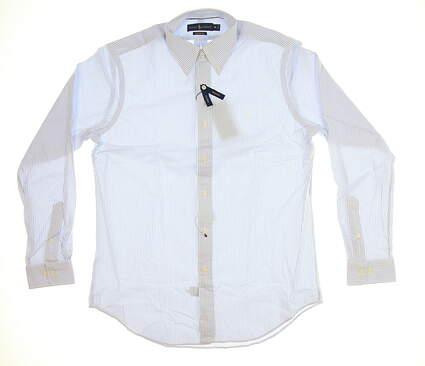New Mens Ralph Lauren Performance Button Up X-Large XL White/Light Blue MSRP $99