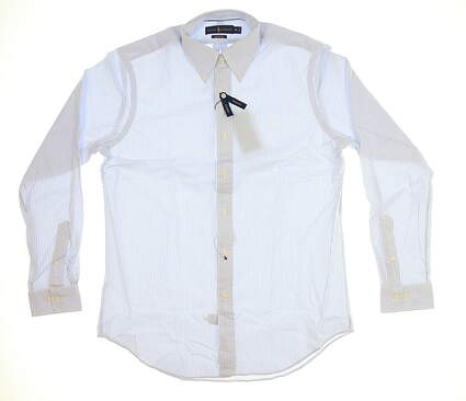 New Mens Ralph Lauren Performance Button Up Medium M Light Blue/White MSRP $99
