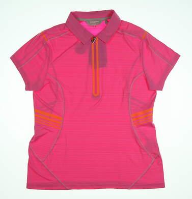New Womens SUNICE Scarlett Golf Polo Large L Neon Pink/Heat Wave MSRP $75 841512