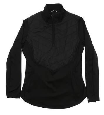 New Womens Straight Down 1/2 Zip Golf Pullover Medium M Black MSRP $98