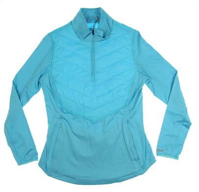 New Womens Straight Down 1/2 Zip Golf Pullover Medium M Blue MSRP $98