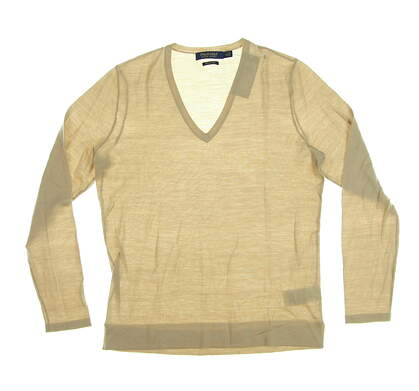New Womens Ralph Lauren Wool V-Neck Golf Sweater Medium M Tan MSRP $145