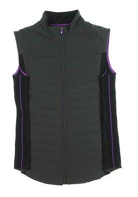New Womens Footjoy Full-Zip Quilted Golf Vest Medium M Charcoal/Black MSRP $135 27508