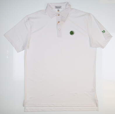 New W/ Logo Mens Peter Millar Golf Polo Medium M White MSRP $84 ME0EK01S