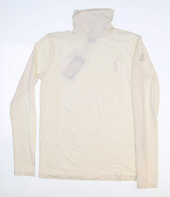 New W/ Logo Womens Ralph Lauren Long Sleeve T-Neck Medium M Cream MSRP $100