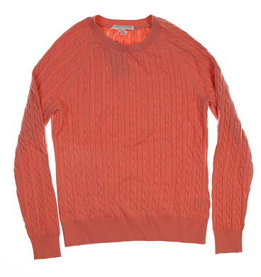 New Womens Fairway & Greene Paige Cable Sweater Large L Sweet Papaya MSRP $185
