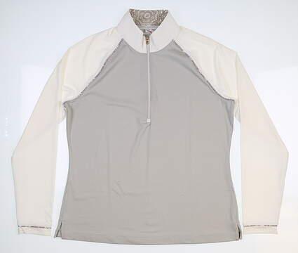 New Womens Fairway & Greene Neve Zip 1/2 Zip Pullover Large L Multi MSRP $115 I12231
