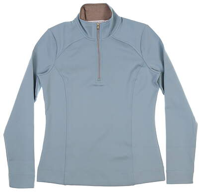 New Womens Fairway & Greene Wells 1/4 Zip Pullover Small S Silver Sage MSRP $115 F12250
