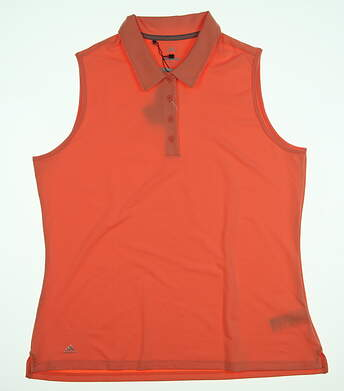 New Mens Adidas Ultimate Sleeveless Polo Large L Coral MSRP $74 CE3077