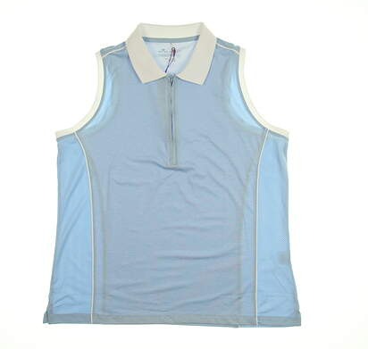 New Womens Peter Millar Sleeveless Polo X-Large XL Blue MSRP $89
