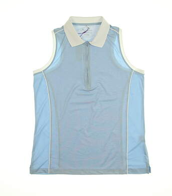 New Womens Peter Millar Sleeveless Polo Large L Blue MSRP $89