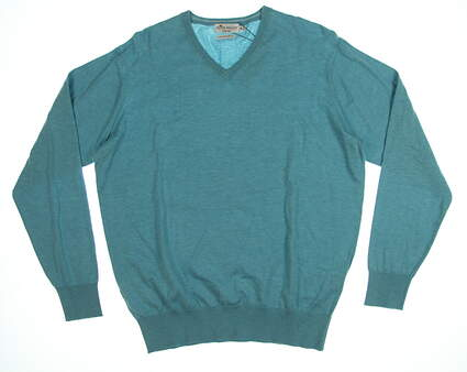 New Mens Peter Millar Sweater Medium M Turquoise MSRP $149 MS18S05