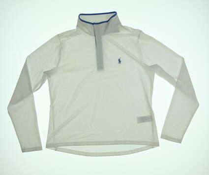 New Womens Ralph Lauren 1/4 Zip Pullover Large L White MSRP $134