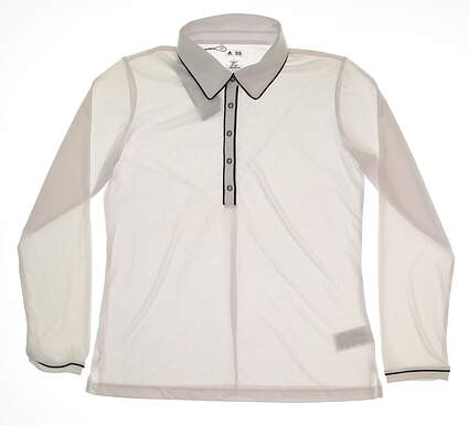 New Womens Adidas Long Sleeve Golf Polo Large L White MSRP $65 Z91696