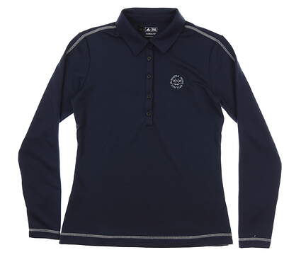 New W/ Logo Womens Adidas Long Sleeve Golf Polo Small S Navy Blue MSRP $65 W48353