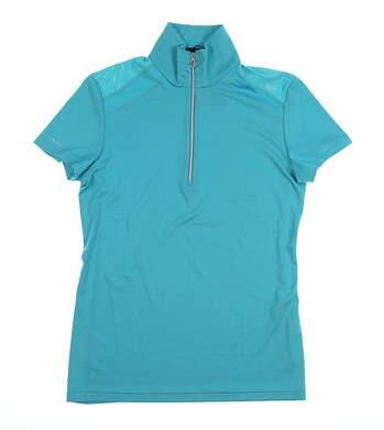 New Womens Ralph Lauren 1/2 Zip Polo Small S Blue MSRP $89 0490093