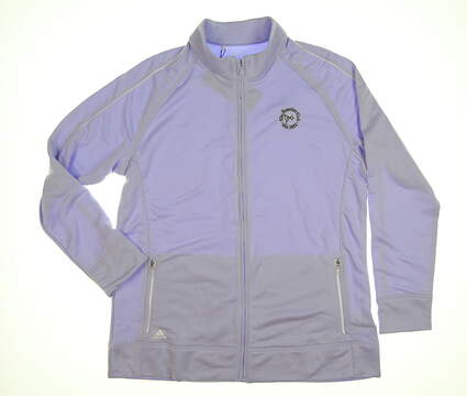 New W/ Logo Womens Adidas Golf Full Zip Mock Neck X-Large XL Purple MSRP $60