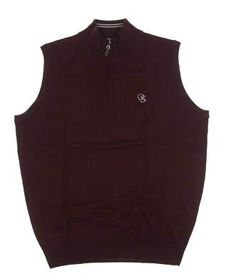 New W/ Logo Mens Peter Millar Merino Wool Golf Sweater Vest Medium M Maroon MSRP $150 MF16S54