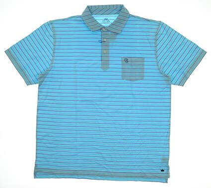 New W/ Logo Mens Peter Millar Seaside Wash Golf Polo Large L Aqua Blue MSRP $90