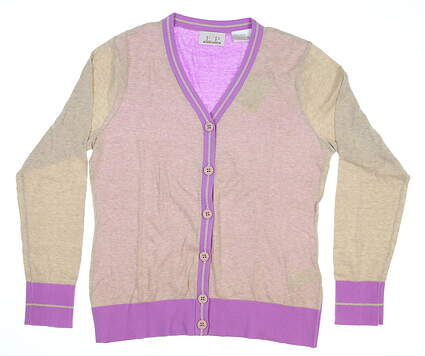 Womens EP Pro Golf Sweater Medium M Tan/Lavender 4210GA MSRP $70