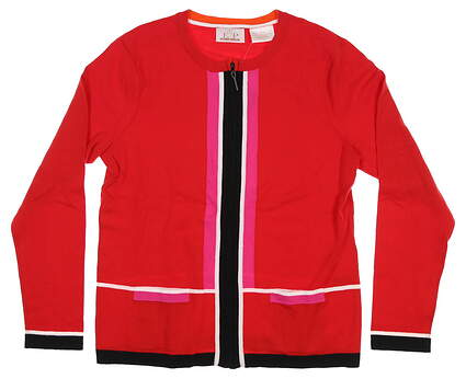 New Womens EP Pro Full Zip Golf Sweater Medium M Red 4220GB MSRP $78