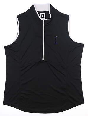 New W/ Logo Womens Footjoy Sleeveless Golf Polo X-Large XL Black MSRP $110