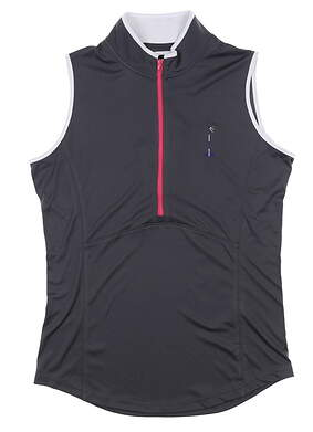 New W/ Logo Womens Footjoy Sleeveless Golf Polo Small S Charcoal MSRP $110