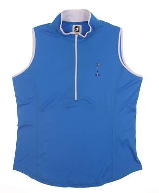 New W/ Logo Womens Footjoy Sleeveless Golf Polo Large L Blue MSRP $110