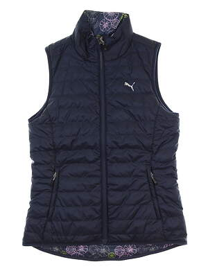 New Womens Puma PWRWARM Reversible Vest Small S Peacoat MSRP $98 573285 07