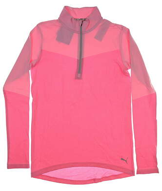 New Womens Puma Evoknit 1/4 Zip Pullover Small S Pale Pink Heather MSRP $75 577939 03