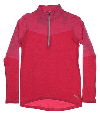New Womens Puma Evoknit 1/4 Zip Pullover Small S Fuchsia Purple Heather MSRP $75 577939 02