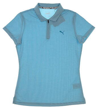 New Womens Puma Soft Stripe Polo Small S Caribbean Sea MSRP $55 577921 01