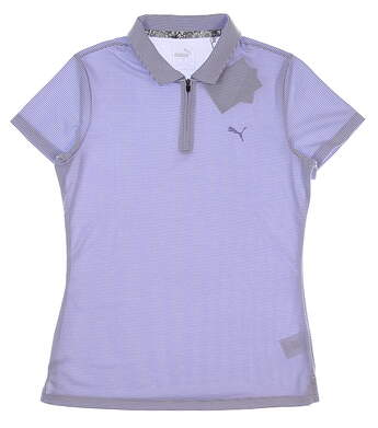 New Womens Puma Soft Stripe Polo Small S Sweet Lavender MSRP $55 577921 04