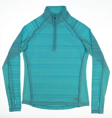 New Womens Straight Down 1/2 Zip Pullover Small S Blue MSRP $65 W14202