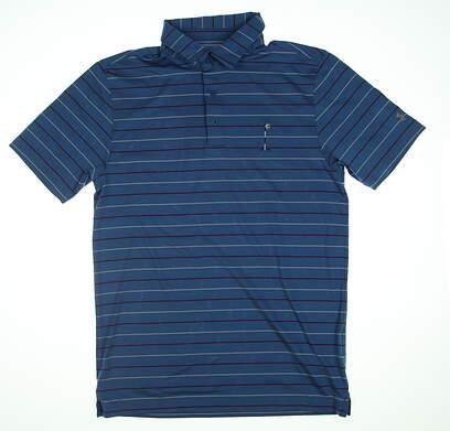 New W/ Logo Mens Under Armour Golf Polo Small S Blue UM0555 MSRP $75