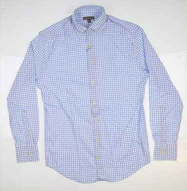 New Mens Peter Millar Golf Button Up Small S Blue/White MSRP $120