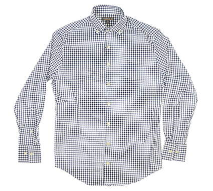 New Mens Peter Millar Golf Button Up Small S Navy Blue/White MSRP $120