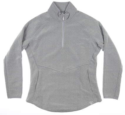 New Womens Straight Down Golf 1/2 Zip Pullover Small S Gray MSRP $94 W60270