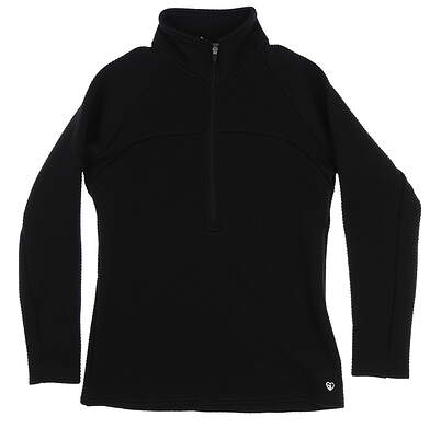 New Womens Straight Down 1/2 Zip Pullover Medium M Black MSRP $94 W60279