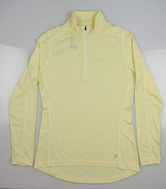 New Womens Straight Down Golf 1/4 Zip Pullover Small S Yellow MSRP $65 W14210