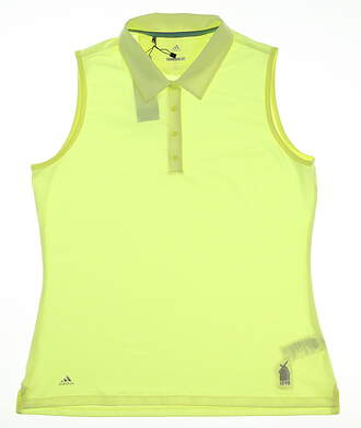 New W/ Logo Womens Adidas Ultimate Sleeveless Polo Large L Yellow MSRP $55 CE3074
