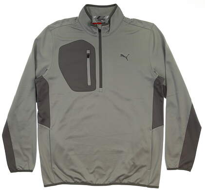 New Mens Puma Tech 1/4 Zip Pullover Medium M Quarry MSRP $90 577897 01